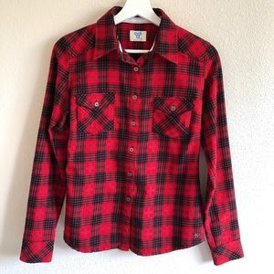 Aritzia TNA Red / Black Plaid Button Up Shirt